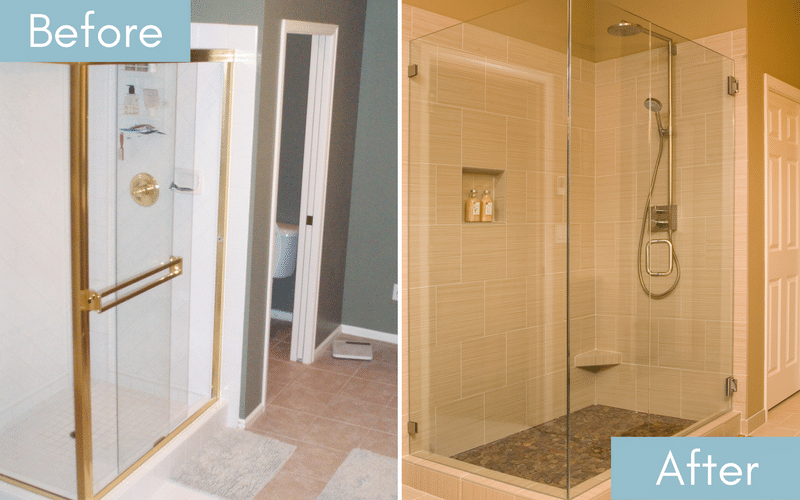 Before and after of a shower with gold accents next to a shower with all clear glass doors