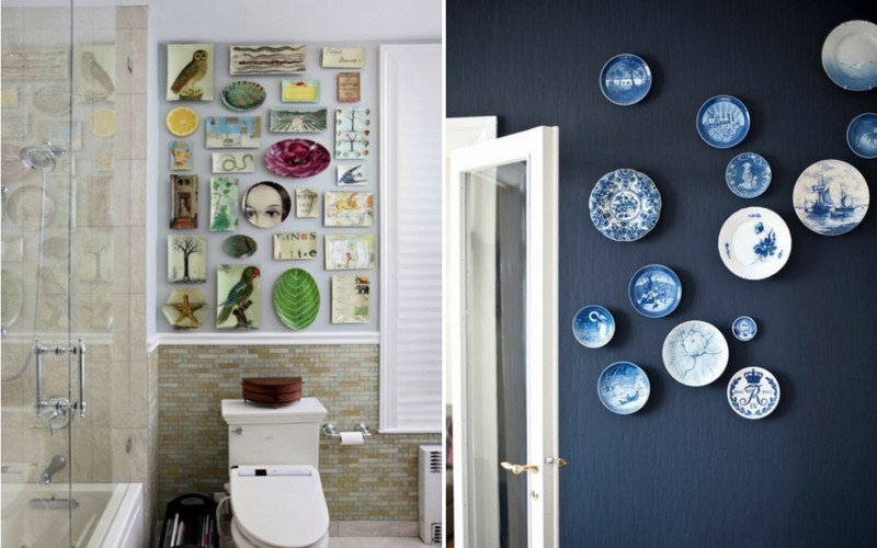 Two bathroom walls with multiple ceramic plates as decorations