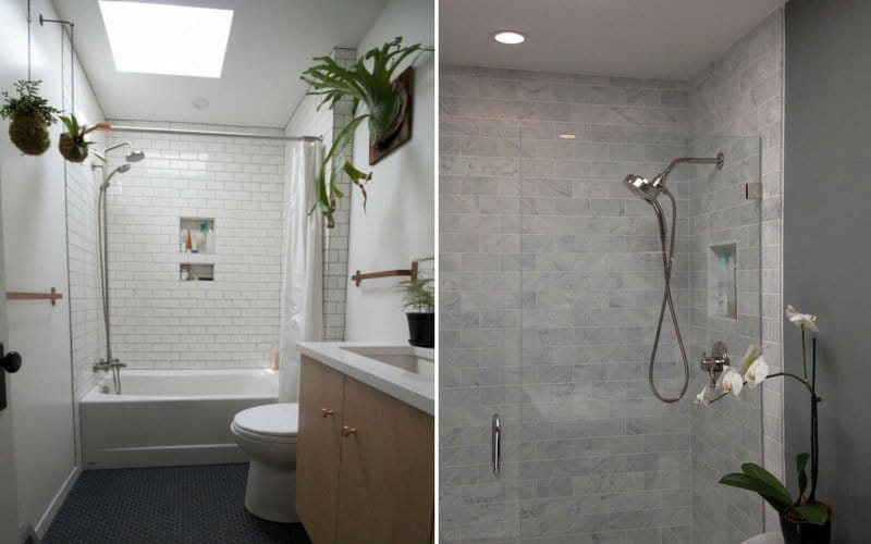 Different styles of bathroom plants including hanging pots, wall-mounted, and placed on the sink.