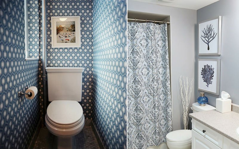 Two examples of bathroom laminated prints, with a blue, geometric design and another one in solid, light-grey.