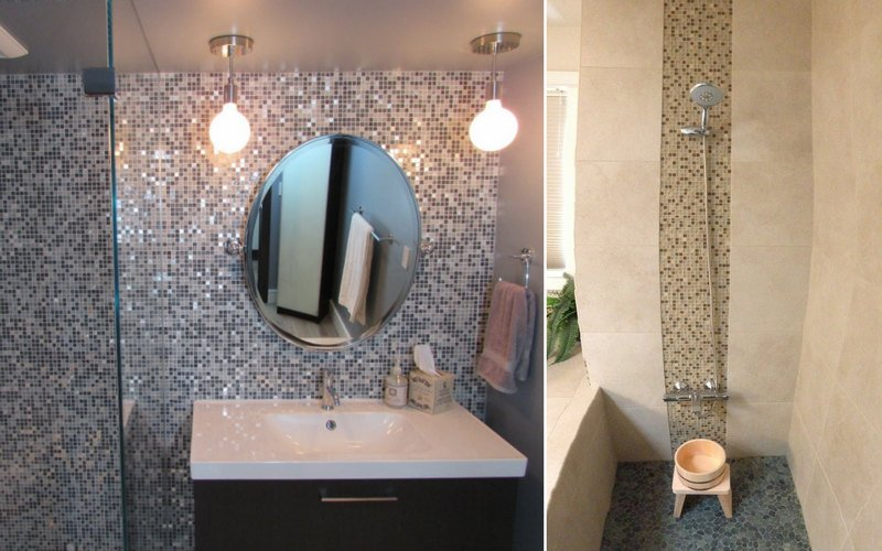 Two examples of multi-colored, accent tile used on bathroom walls.