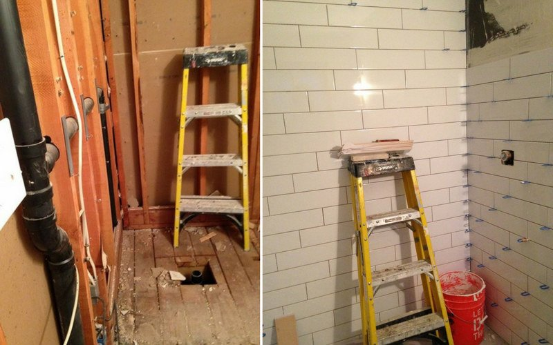 Two pictures showing bathrooms under construction