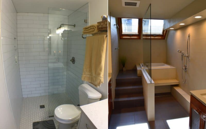 Side by side of two open-concept showers featuring no doors and a few glass panels