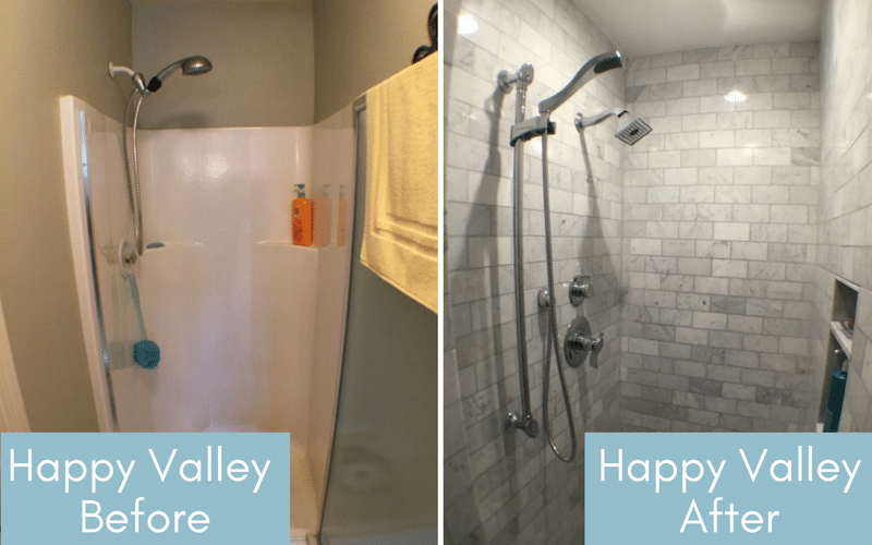 Before and after of a small, white linoleum shower and a grey tiled shower