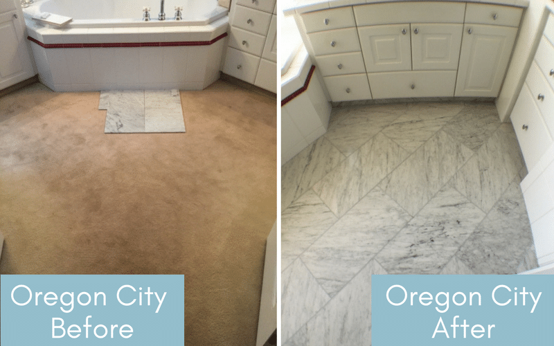 Before and after of a bathroom with brown carpet and one with grey tile