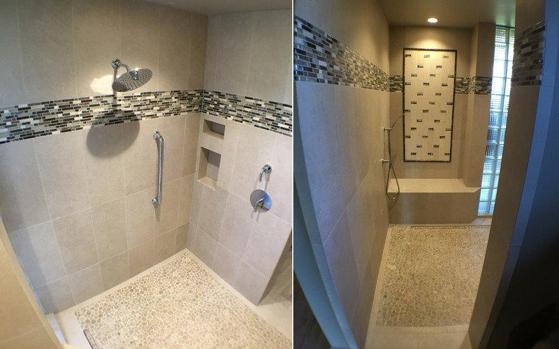 Side by side of an open shower with tan marble walls and a multi colored tile accent