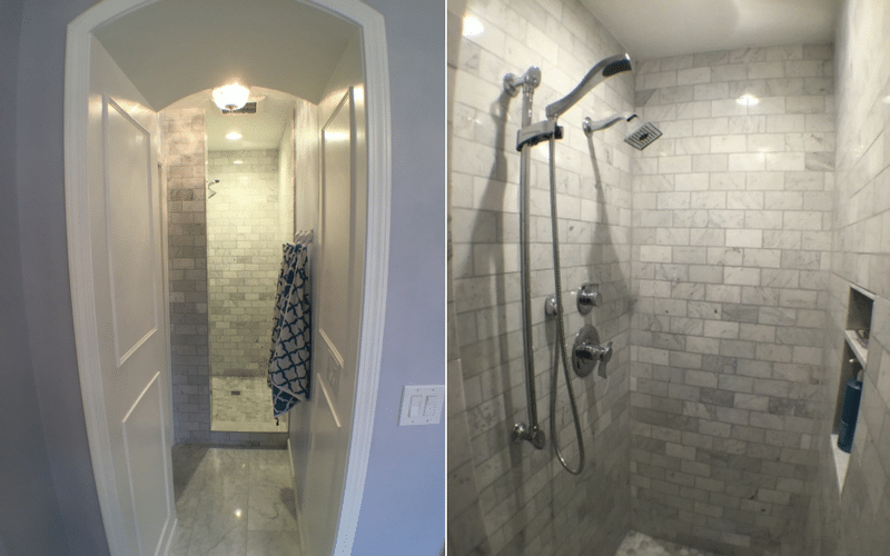 Open design shower with grey tile bricked walls