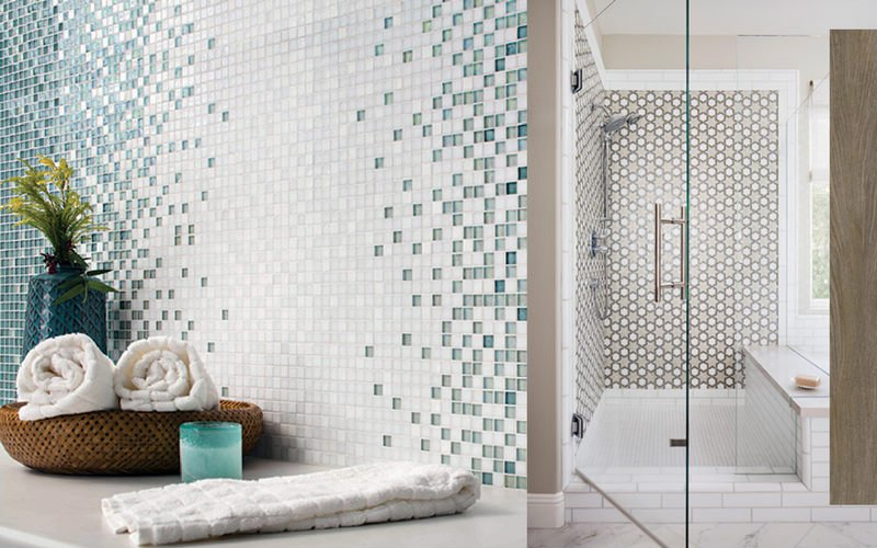 Bathroom wall with teal tile pattern and shower with a brown, geometric wall pattern