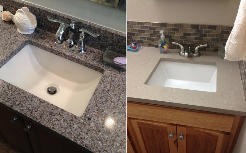 Two bathroom sinks with center-set faucets