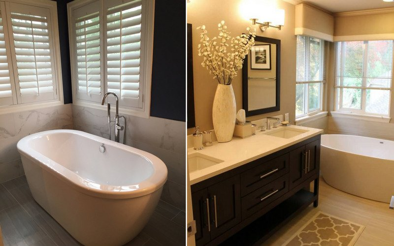 Two examples of bathrooms with either shades or blinds.
