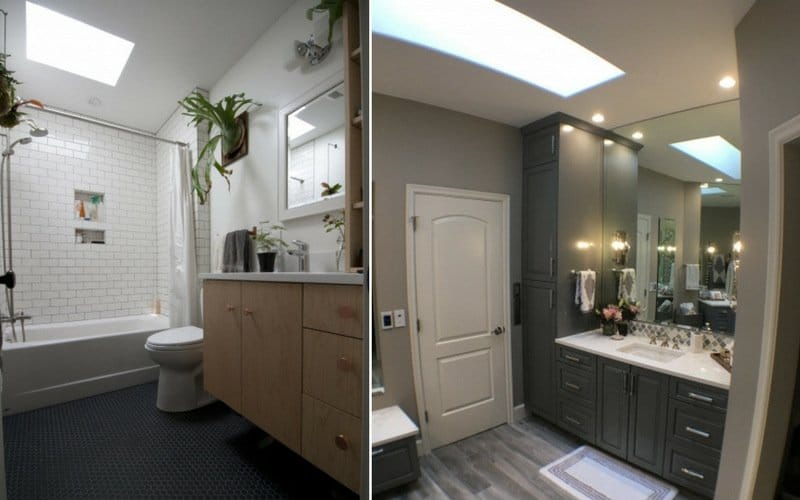 Two examples of bathrooms with skylights