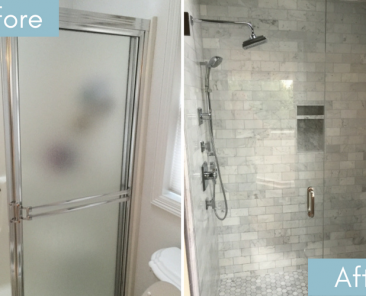 Before and after tile shower remodel