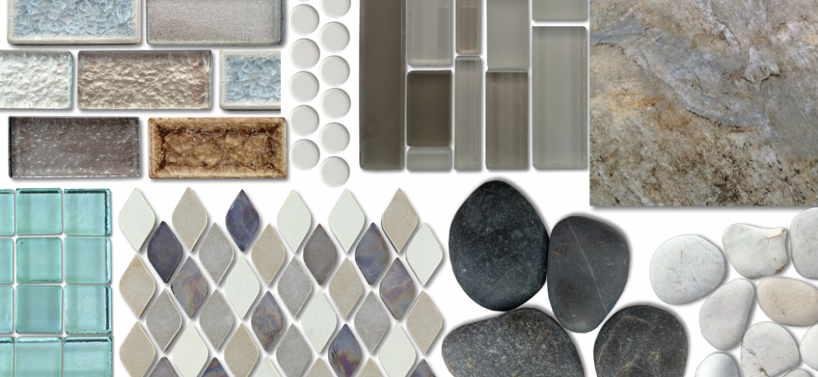 Variety of bathroom tiles, ceramic, glass, and pebble